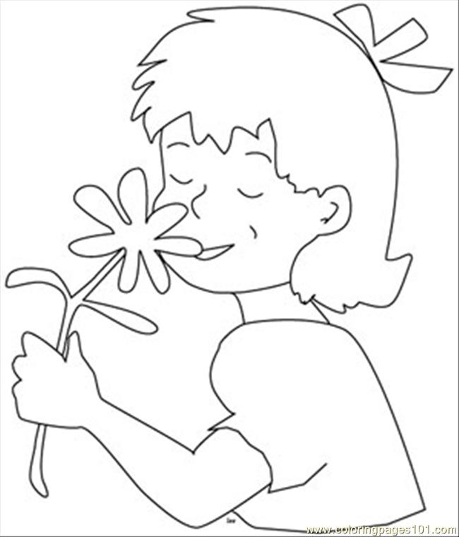 7679girl Flower Coloring Page Coloring Page