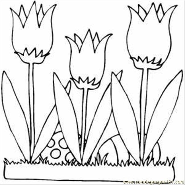 Eggs And Lilies Coloring Page
