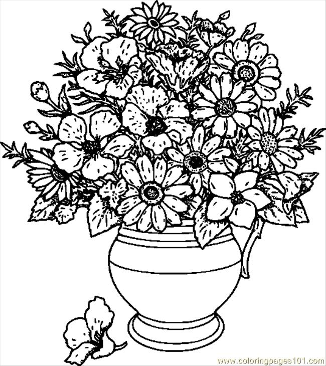 Lovely Vase Of Wild Flowers.svg.hi Coloring Page