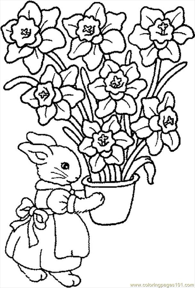 Bunny Flowers Coloring Page