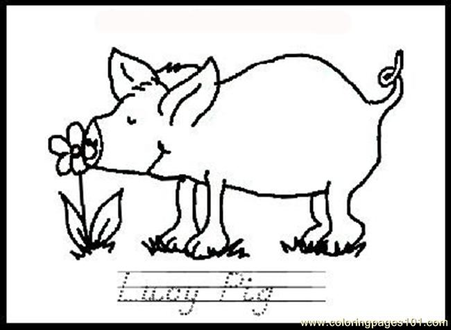 Ing Page Lucy Pig With Flower Coloring Page