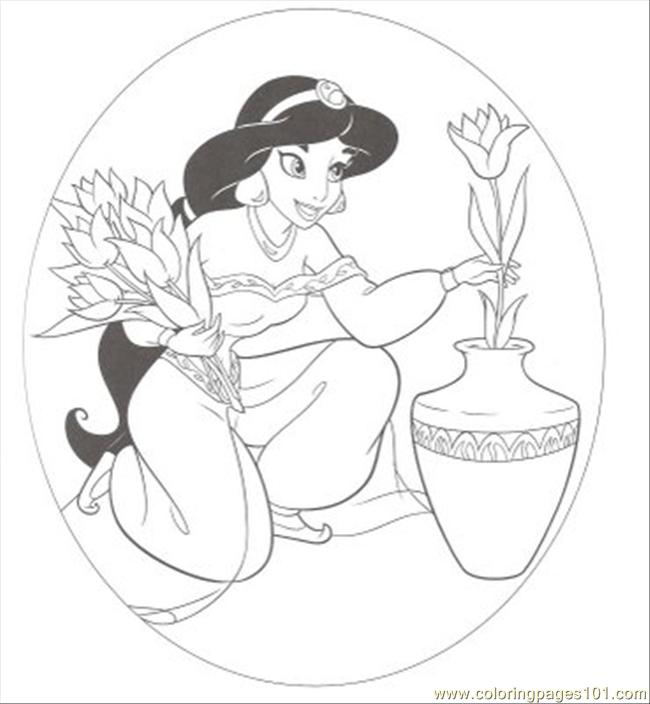 Ng%2bpages Jasmin With Flower Coloring Page