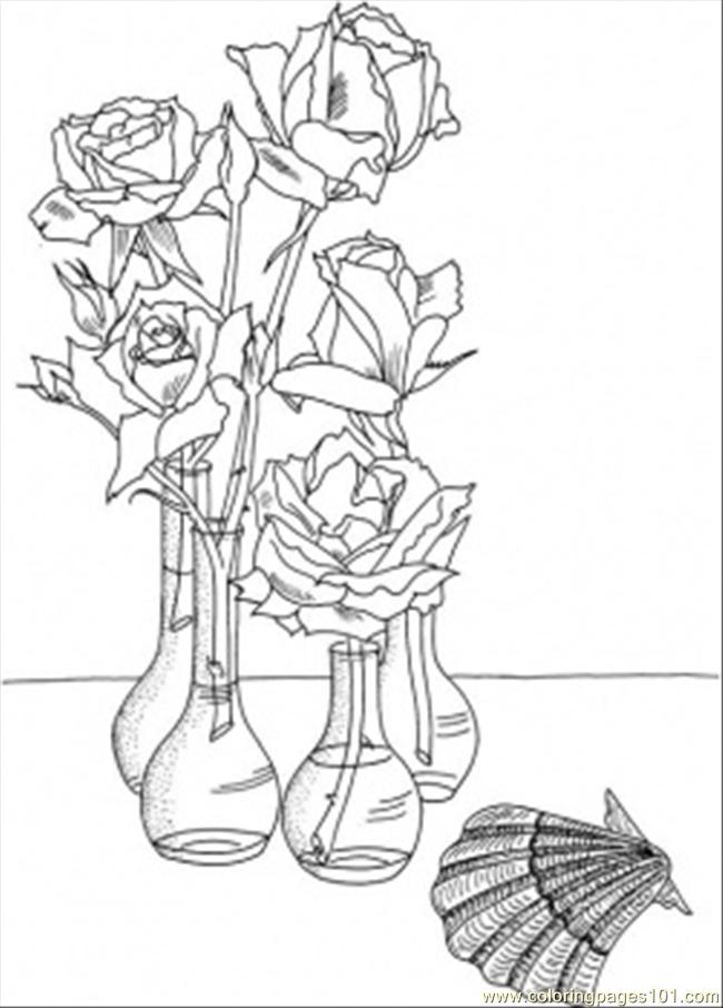 Roses In The Vases Near The Shell Coloring Page