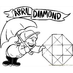 04 April   Diamond Free Coloring Page for Kids