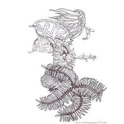 Coloring Fern Branch Segment Reverse coloring page
