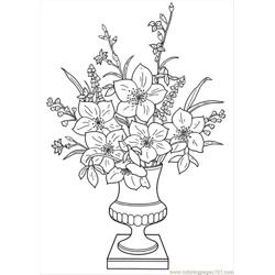 Lilies In A Vase Free Coloring Page for Kids