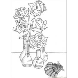 Roses In The Vases Near The Shell Free Coloring Page for Kids