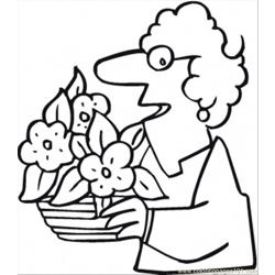 Ted Her Flowers Coloring Page
