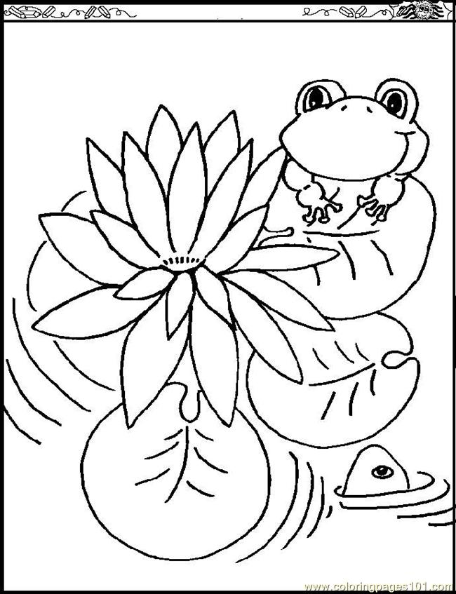 Water Lily Coloring Page Free Flowers Coloring Pages