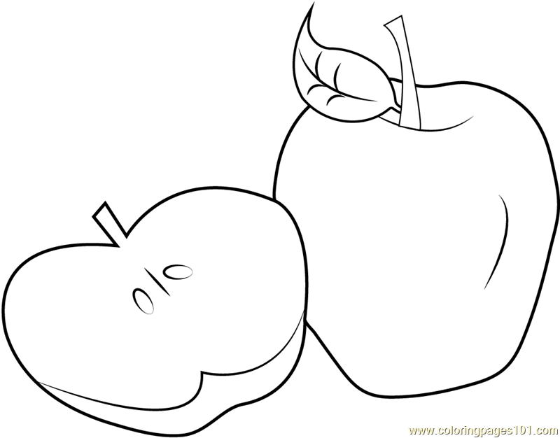 Sliced Apple Coloring Page Free Apples Coloring Pages