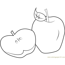 Sliced-Apple Free Coloring Page for Kids