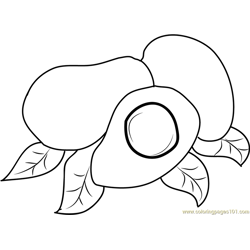 Avocados with Leaf Free Coloring Page for Kids