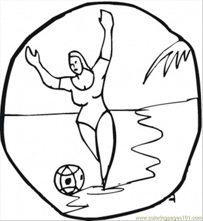 Lady On The Beach Plays Football Coloring Page