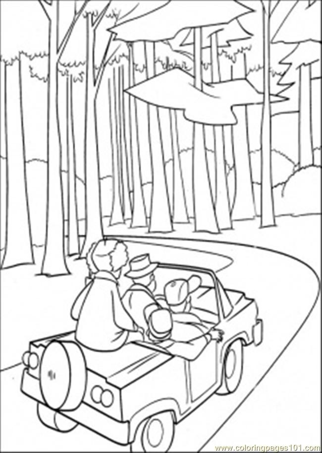 Car In The Forest Coloring Page