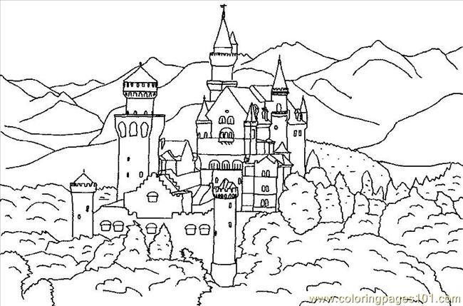 Castle Of Baviere In Forest Coloring Page