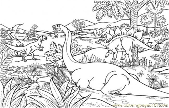 Dinosaurs In Jungles Coloring Page