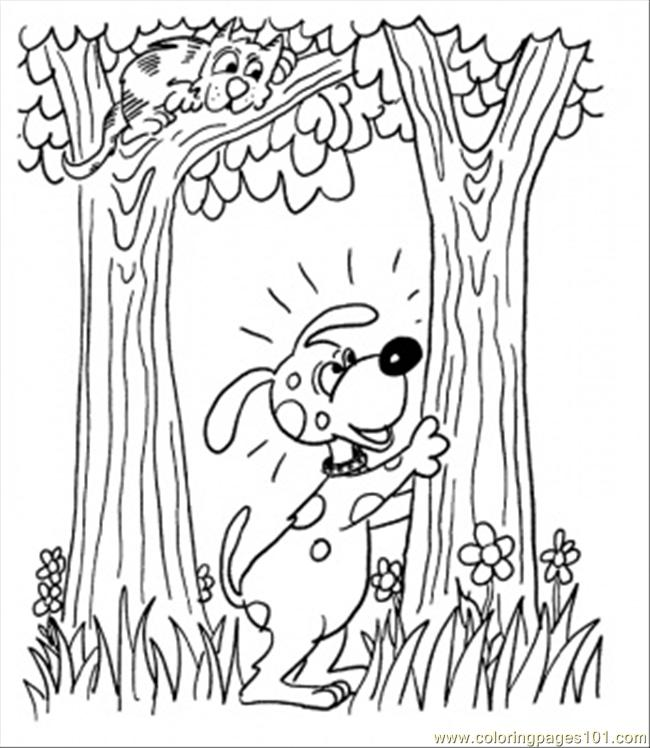 Dog With Cat In The Forest Coloring Page - Free Forest Coloring ...