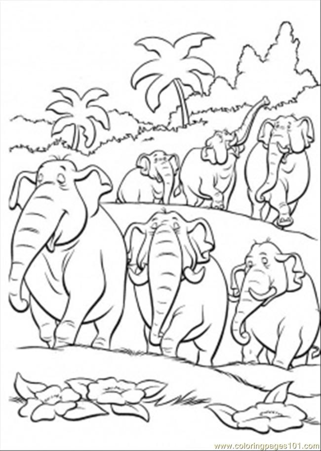 Elephants In The Jungle Coloring Page