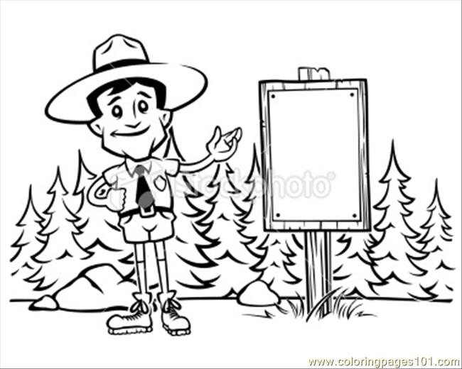 Forest Ranger Black And White Coloring Page