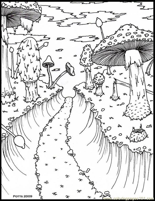 Hthroughmushroomforestsmall 1 Coloring Page Free Forest Coloring