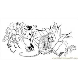 Monkey In The Jungle coloring page