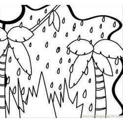 Rain In The Jungle Free Coloring Page for Kids
