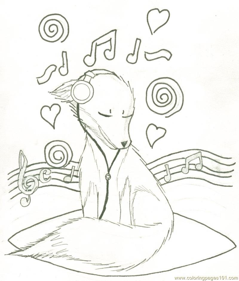 Music fox Coloring Page