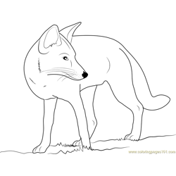 Fox Looking Back Free Coloring Page for Kids