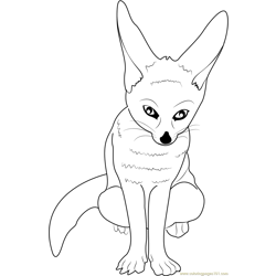 Little Fox Free Coloring Page for Kids