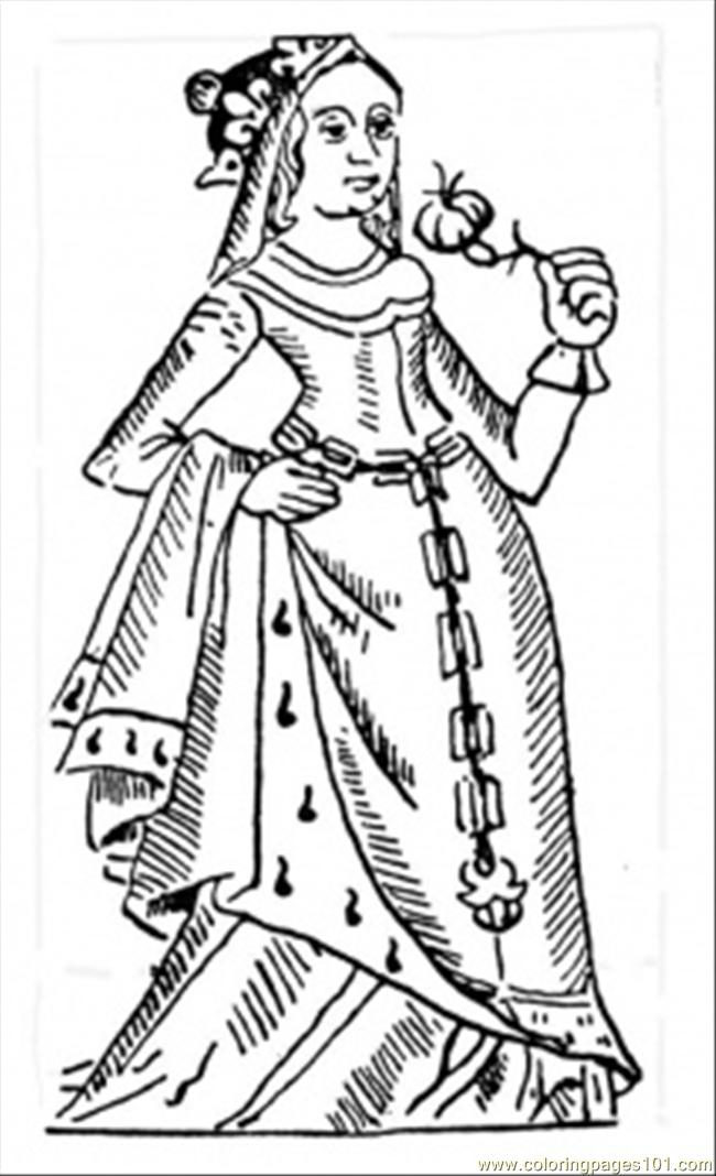 French Queen Coloring Page