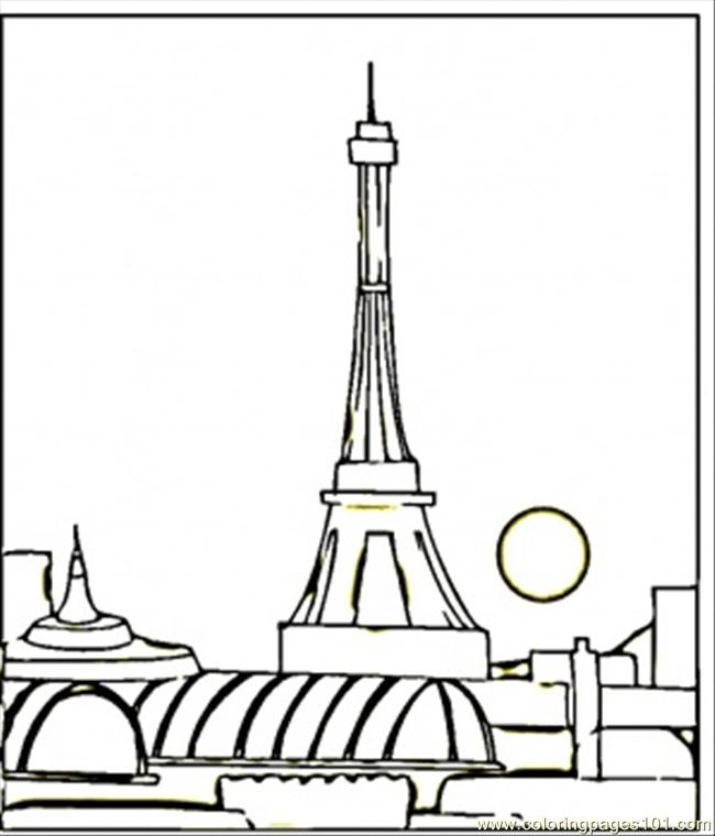 View Of Paris At Night Coloring Page
