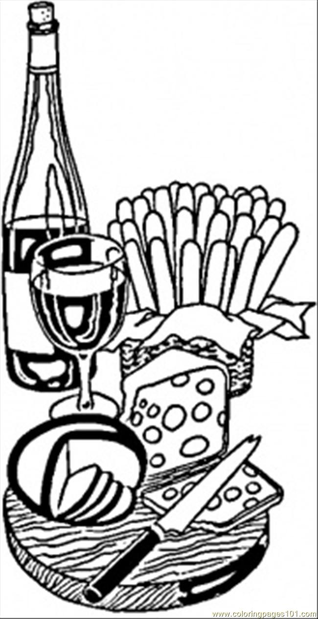 wine and cheese from france coloring page free france coloring