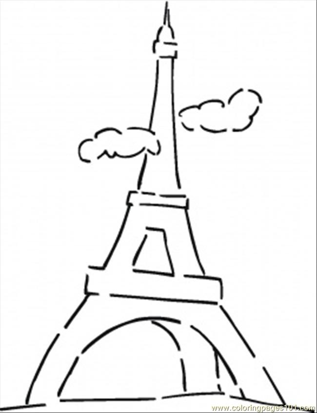 Famous Eiffel Tower Coloring Page