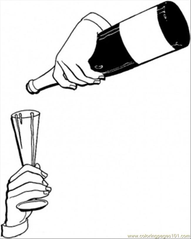French Red Wine Coloring Page