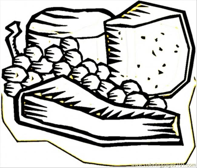 Grape And Cheese Coloring Page Free France Coloring