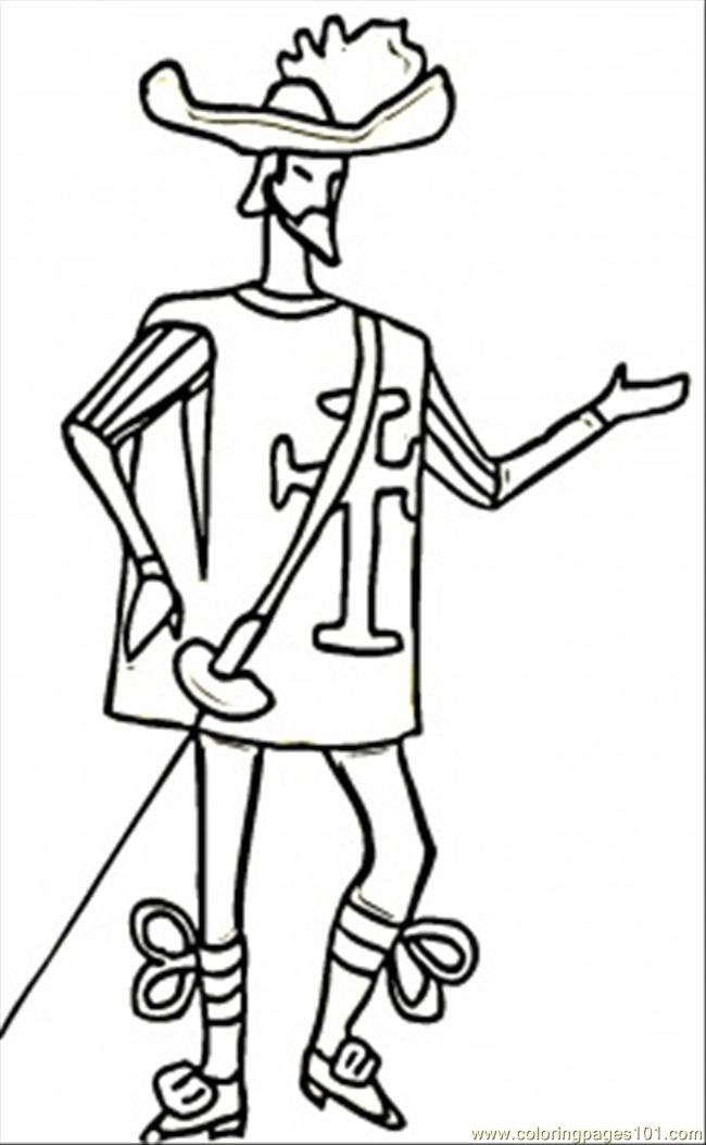 Skinny Musketeer Coloring Page Free France Coloring