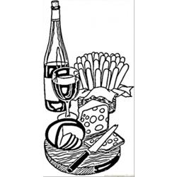 Wine And Cheese From France Free Coloring Page for Kids