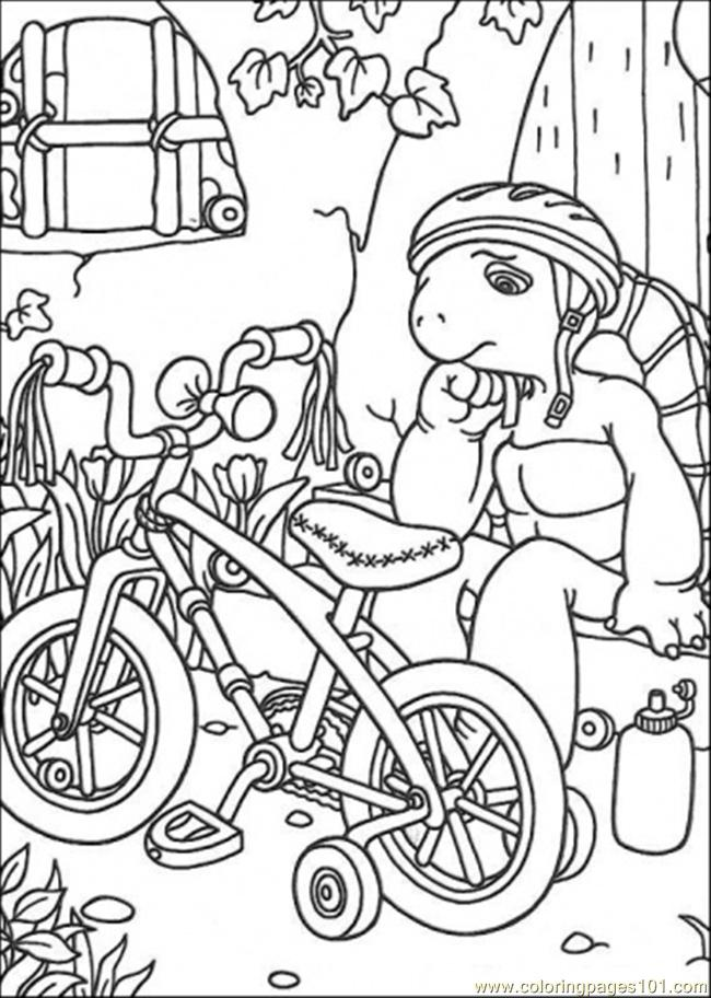 Franklin And Her Bicycle Coloring Page