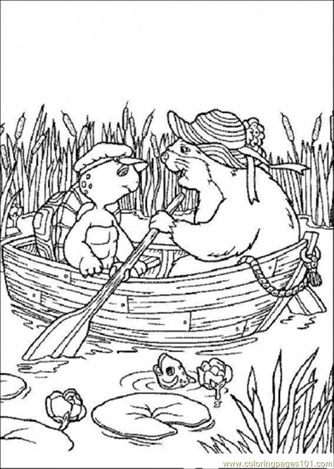 Franklin And His Friend Are Riding A Boat Coloring Page