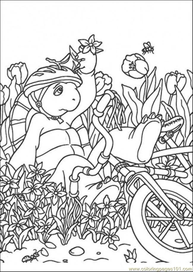 Franklin Falls Down From His Bicycle Coloring Page