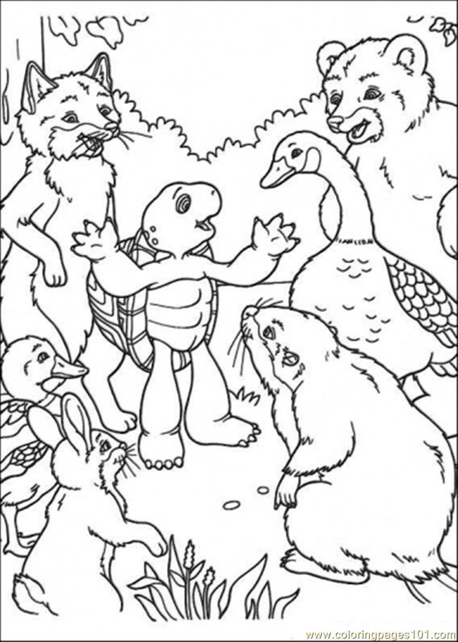 Franklin Tells A Story To His Friends Coloring Page