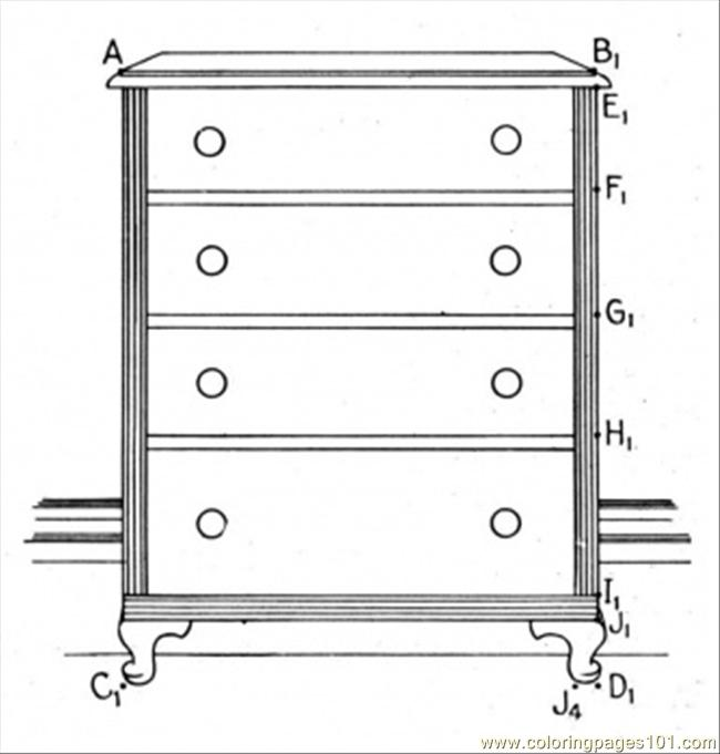 Dresser Coloring Page Free Furnitures Coloring Pages
