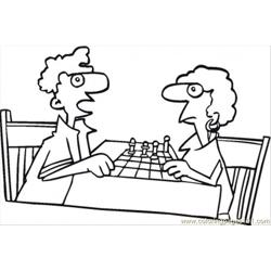 92 S Playing Chess Coloring Page
