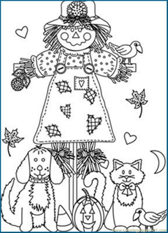 Pumpkin Patch Scarecrow Coloring Page • FREE Printable PDF from ... | 902x650