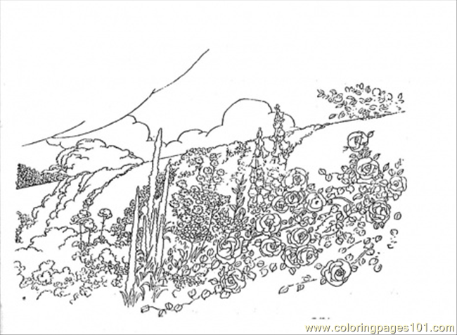 Flowers In The Mountains Coloring Page