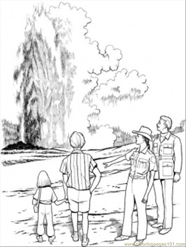 Geyser In Yellowstone National Park Coloring Page For Kids Free Garden Printable Coloring Pages Online For Kids Coloringpages101 Com Coloring Pages For Kids