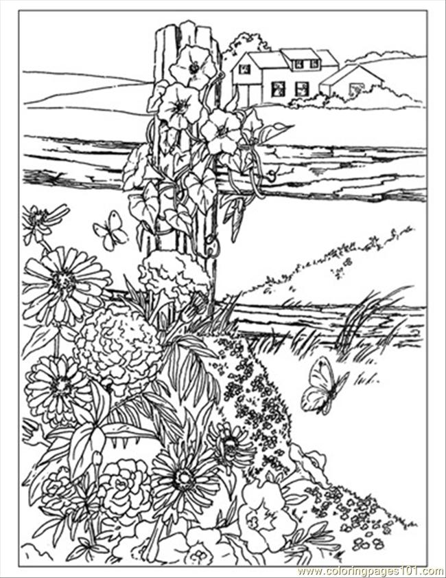Wildflowers Preview Coloring Page - Free Garden Coloring ...