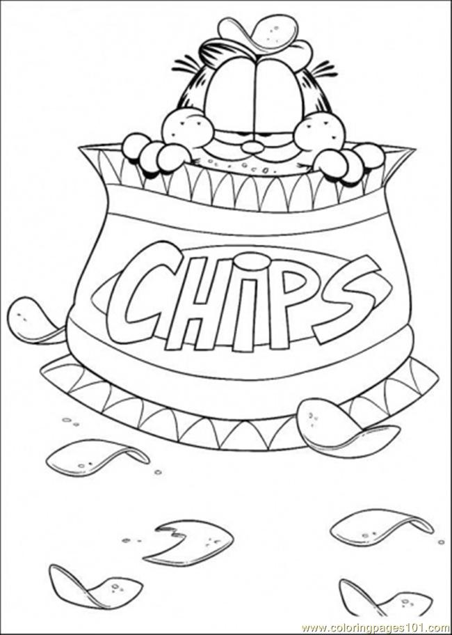Chips Garfield Coloring Page