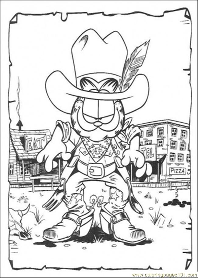 Garfield Coloring Pages Pdf : Cowboy garfield coloring page free