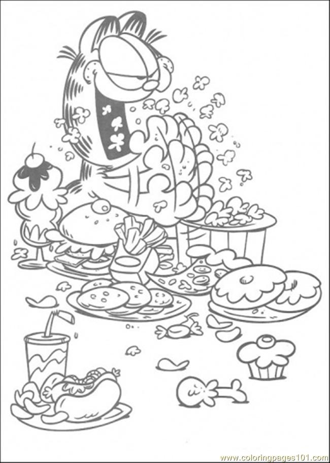 Eat and eat and eat coloring page free garfield coloring for Garfield color pages